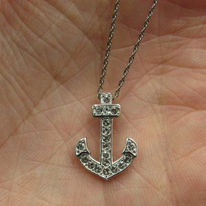 """Jewelry - 18"""" Sterling Silver Cubic Zirconia Anchor Necklace"""